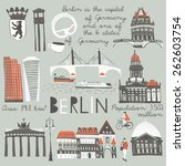 berlin landmarks and monuments | Shutterstock .eps vector #262603754