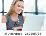 young businesswoman working in... | Shutterstock . vector #262605788