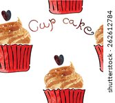 hand drawn heart cupcake vector ... | Shutterstock .eps vector #262612784