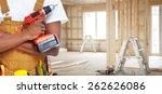 builder handyman with... | Shutterstock . vector #262626086