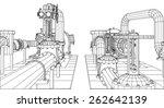 wire frame  industrial... | Shutterstock .eps vector #262642139