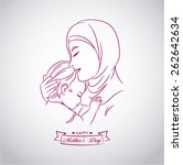 drawing of a mother middle east ... | Shutterstock .eps vector #262642634