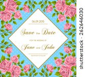 vintage wedding invitation with ... | Shutterstock .eps vector #262646030