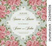 vintage wedding invitation with ... | Shutterstock .eps vector #262646036