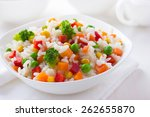 rice with vegetables on white... | Shutterstock . vector #262655870