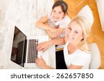 a mother with her daughter... | Shutterstock . vector #262657850