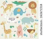 africa animals in vector set.... | Shutterstock .eps vector #262671518