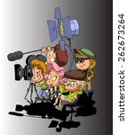 film maker and working staff    Shutterstock .eps vector #262673264