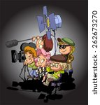 film maker and working staff  | Shutterstock .eps vector #262673270
