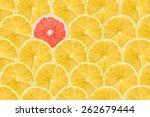 one pink grapefruit slice stand ... | Shutterstock . vector #262679444