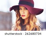beautiful fashionable woman... | Shutterstock . vector #262680734