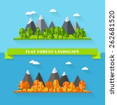 vector flat forest and mountain ... | Shutterstock .eps vector #262681520