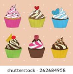 set of cupcakes on vintage... | Shutterstock .eps vector #262684958