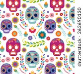 Stock vector mexico pattern with skull flowers and ethnic elemens 262690130