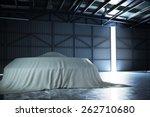 U.F.O covered inside a top secret hanger. Photo realistic 3d scene. - stock photo