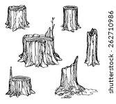Hand Drawn Stumps Set Isolated...