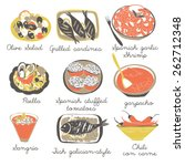 9 classic spanish dishes   Shutterstock .eps vector #262712348