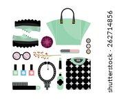 flat lay woman's fashion  black ... | Shutterstock .eps vector #262714856