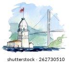 panorama of bosphoros strait... | Shutterstock .eps vector #262730510
