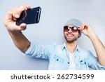 selfie  top view of handsome... | Shutterstock . vector #262734599