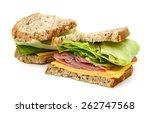 delicious ham sandwich on white ... | Shutterstock . vector #262747568