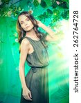 beautiful young woman  among... | Shutterstock . vector #262764728