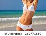 young woman in white bikini... | Shutterstock . vector #262771850