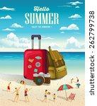 summer beach holiday vector... | Shutterstock .eps vector #262799738