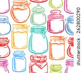 seamless hand drawn mason jars... | Shutterstock .eps vector #262800290