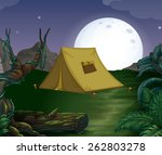 camping ground on the fullmoon | Shutterstock .eps vector #262803278