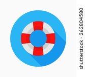 lifebuoy flat icon with long... | Shutterstock .eps vector #262804580