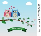 the couple of owls feeling love ... | Shutterstock .eps vector #262805699