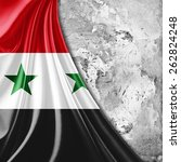 syria flag and wall background | Shutterstock . vector #262824248