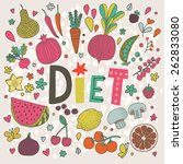 lovely diet concept card in... | Shutterstock .eps vector #262833080