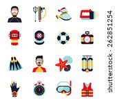 Diving Sport Icons Set With...
