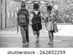 back view of school mates... | Shutterstock . vector #262852259