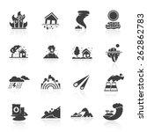 natural disaster icons black...