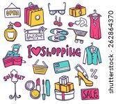 shopping hand drawn decorative... | Shutterstock .eps vector #262864370