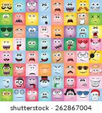 set of cartoon faces with... | Shutterstock .eps vector #262867004