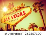 Stock photo world famous las vegas nevada vegas strip entrance sign in s vintage color grading united 262867100