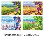 rural landscape with vineyard... | Shutterstock .eps vector #262870913