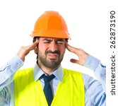 frustrated workman over white...   Shutterstock . vector #262873190