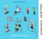 sportsmen pumping iron gym... | Shutterstock .eps vector #262877690