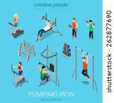 sportsmen pumping iron gym... | Shutterstock .eps vector #262877690