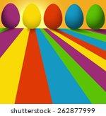 vector   bright easter eggs... | Shutterstock .eps vector #262877999