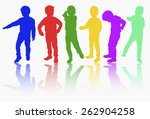 boys silhouettes happy | Shutterstock .eps vector #262904258