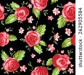 roses ornament on black... | Shutterstock .eps vector #262905584