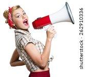 megaphone  women  shouting. | Shutterstock . vector #262910336