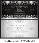 luxury silver gift certificate... | Shutterstock .eps vector #262932500