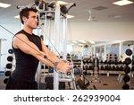 gym  man gets arm workout... | Shutterstock . vector #262939004